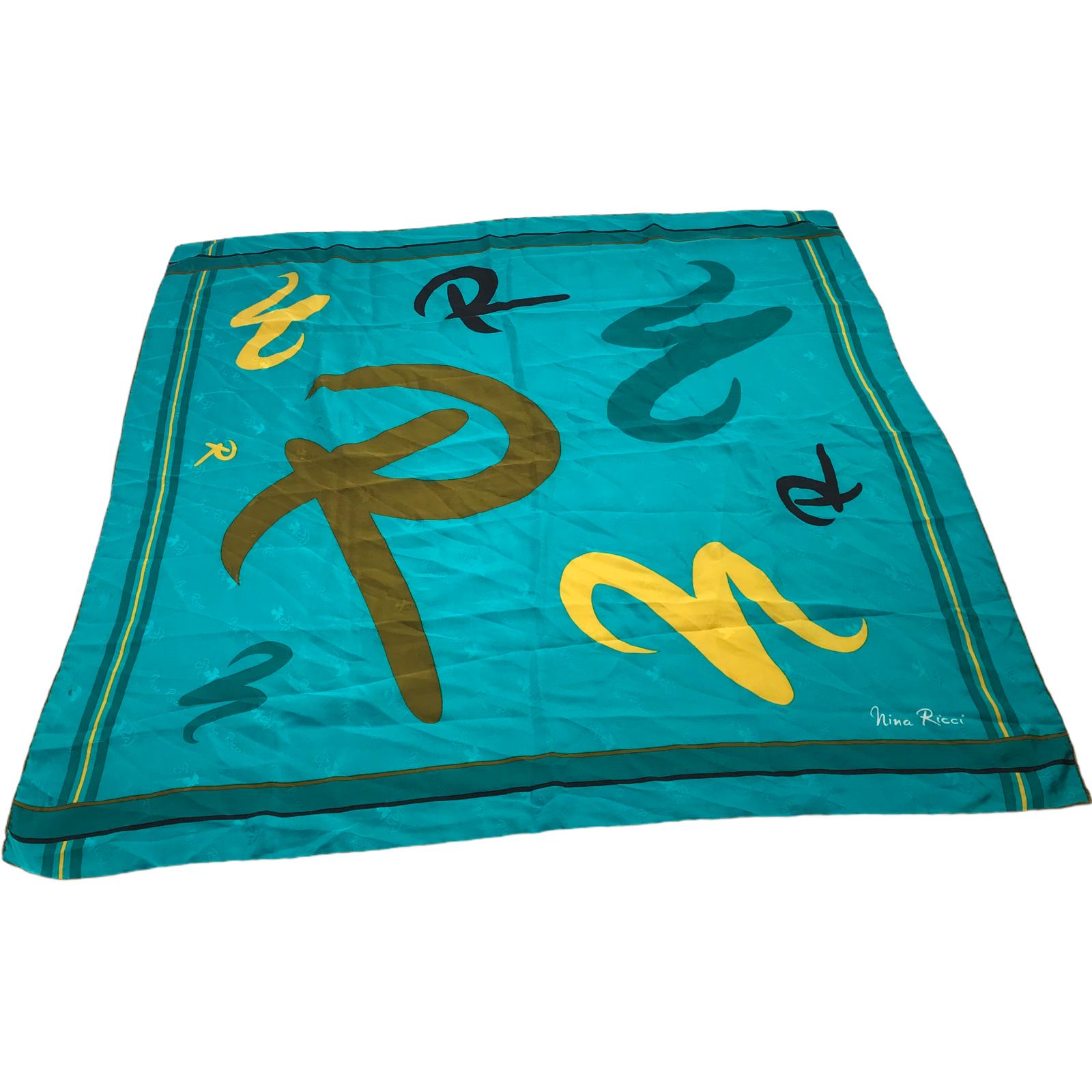 Authentic Vtg Nina Ricci Silk Designer Scarf Logo Monogram Hand Rolled 34