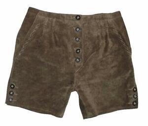 kurze-Kinder-Trachten-LEDERHOSE-Trachtenhose-Shorts-in-dkl-oliv-Gr-164