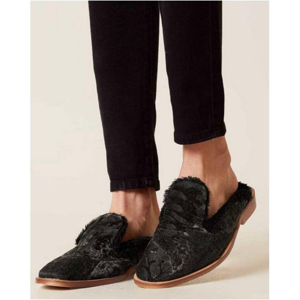 NEW Free People Butterfly Effect Faux Fur  Slip-On Mules Size 39 9