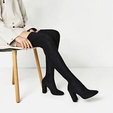 ZARA NEW OVER THE KNEE HIGH HEEL STRETCH SOCK BOOTS  SIZE UK 6 39