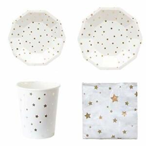 Polka-Dot-Sky-White-amp-Gold-Foil-Star-Birthday-Party-Tableware-Paper-Plates-Cups