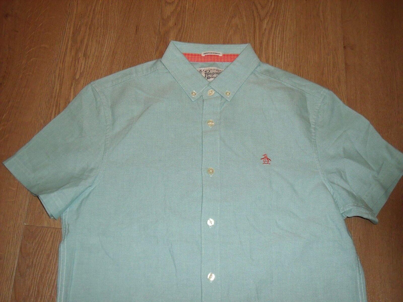 Original Penguin Core Oxford Short Sleeve Light Green Shirt M Men's New