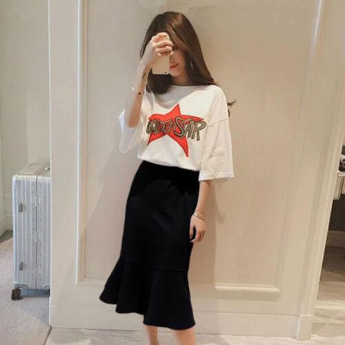 2 Stuecke Korean Frauen Letter Print Set kurzärmelig T-Shirt Fishtail Skirt ZBDE