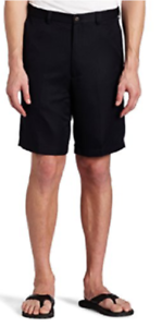 Haggar-Men-039-s-Ultimate-Comfort-Waistband-Flat-Front-Shorts-Black-You-Pick-Size