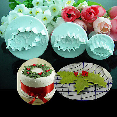 3pcs Leaf Cookie Plunger Cutter Fondant Sugarcraft Mold Cake Decorating Tool