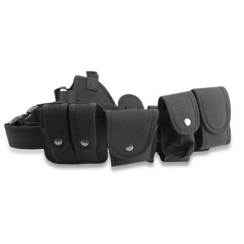 Black Tactical Nylon police Security Guard Duty Belt Utility Kit System w// Pouch
