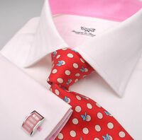 White Herringbone Formal Business Dress Shirt Pink Poplin Twill Egyptian Cotton