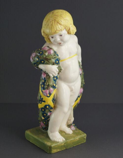 Jugendstil Keramik Figur Putto / Blütenputto  ~ 1900  (# 1807)