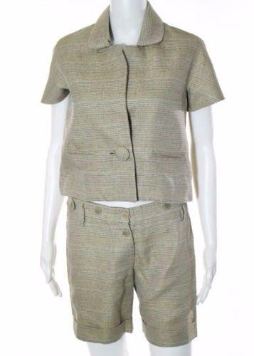 1,400 CHLOE RUNWAY Tan Short Sleeve Blazer Cuffed Shorts Suit Gorgeous