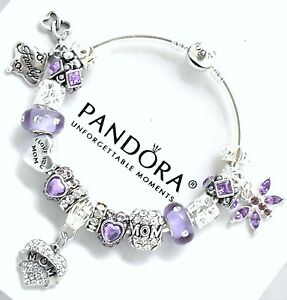 Image Is Loading Authentic Pandora Charm Bracelet Silver Mom Purple European