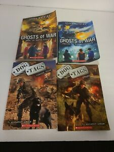 Lot of 4 Scholastic Young Adult Books - Dog Tags & Ghost Of War All Great Reader