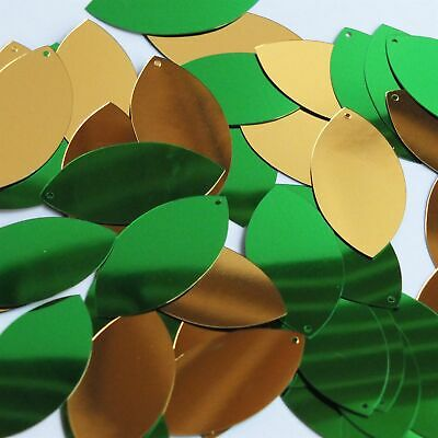 """Vertrouwend Navette Leaf Sequin 1.5"""" Green Gold Shiny Metallic Reversible Made In Usa"""