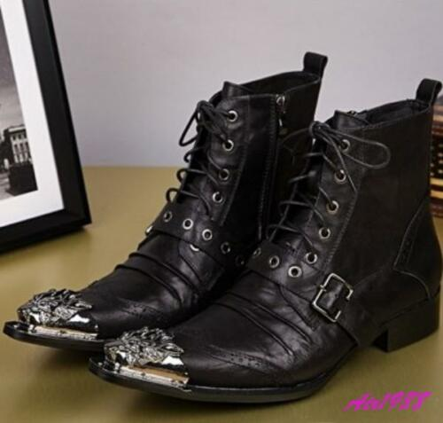 Mens British Western Cowboy Metal Pointed Toe Lace Zip Ankle Boots Leather 2019