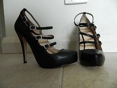 "Zoe Wittner ""Belinda"" Black Leather Stiettos Size 38"