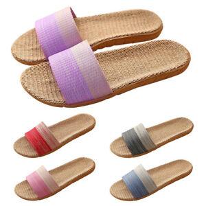 Women Mens Flax Tatami Slipper No Slip Indoor Slipper Open Toe Scuffs Home Shoes
