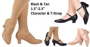 Dance-Character-Tap-Shoes-MANY-OPTIONS-Adult-amp-Child-Sizes-JAZZ-Tap-Black-Beigi