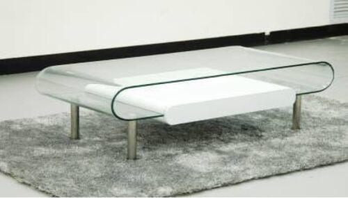Abverkauf/  B152122  Couchtisch Tisch Stubentisch Weiß Hochglanz Glas gebogen