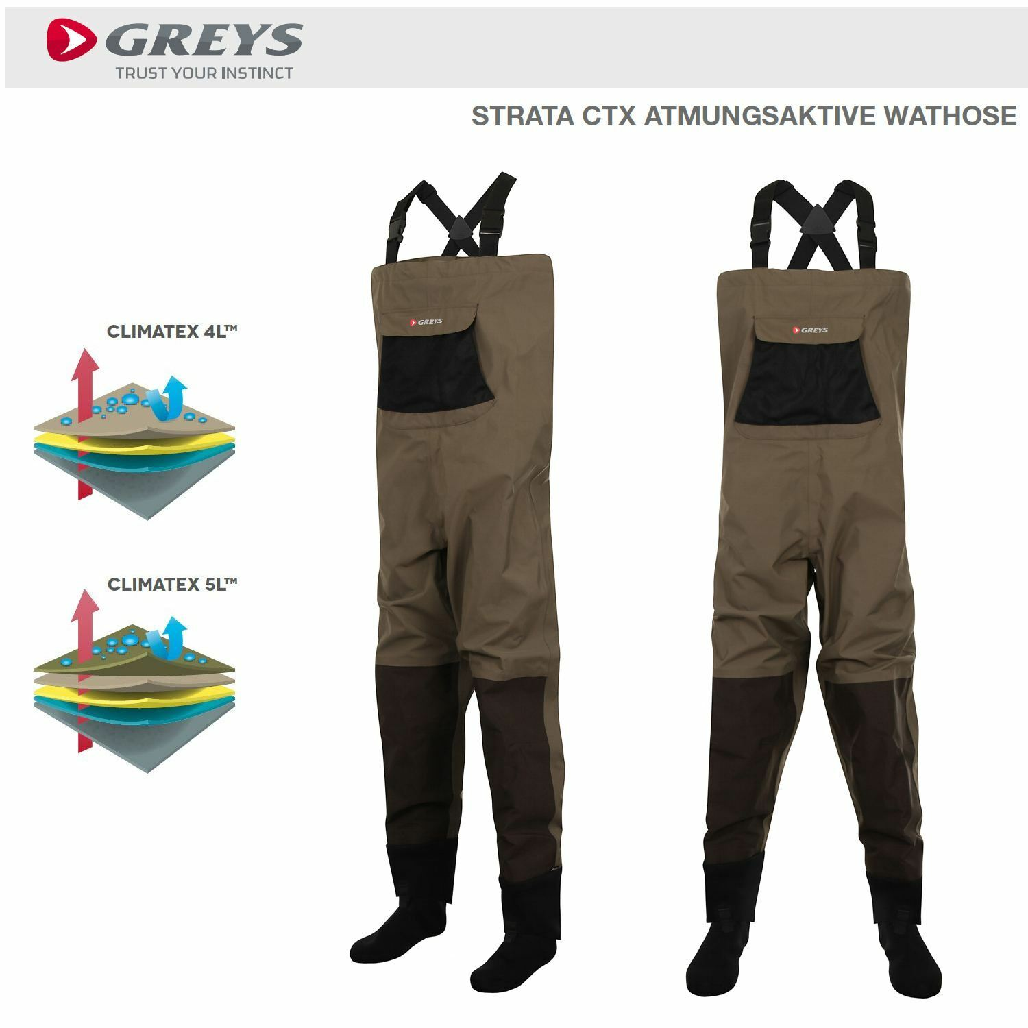grigios STRATA CTX BREATHABLE CHEST Wader Stocking Foot respirabile impermeabili
