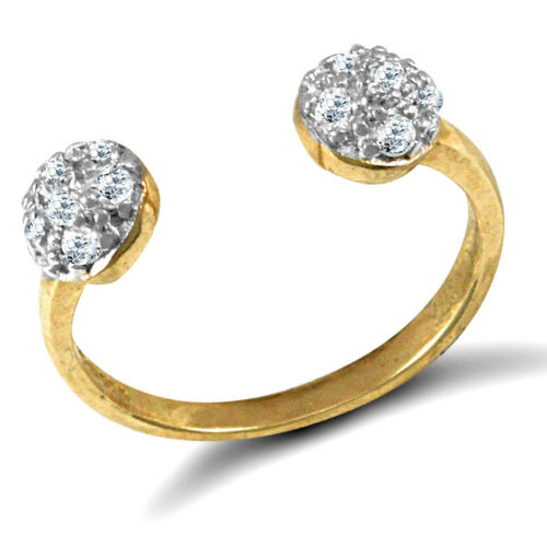 Solid 9ct yellow gold hand finished cubic zirconia set torque style toe ring