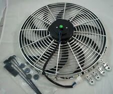 "Chrome 16"" Heavy Duty Electric Fan 3000 CFM New Reversable SBC BBC 350 W/ Straps"