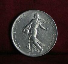 1964 France 1 Franc Nickel World Coin KM925.1 Female Seed Sower Laurel Branch