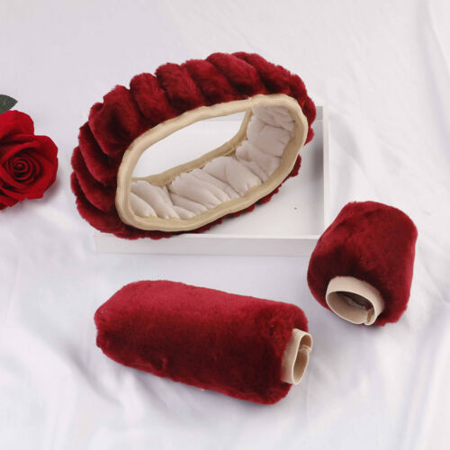 3Pcs//set Winter wine red warm plush car steering wheel cover handbrake covers vb