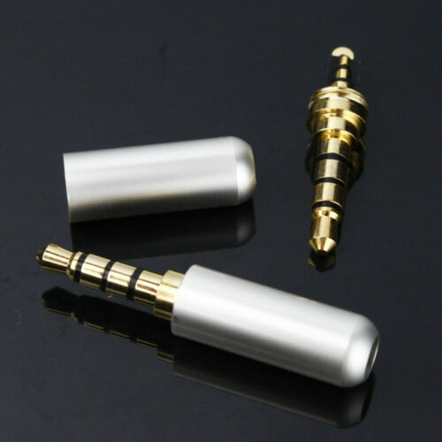 Two X Pack Gold 3.5mm 4 Pole TRRS Mini Audio Video Male Plug Connector PLATINUM