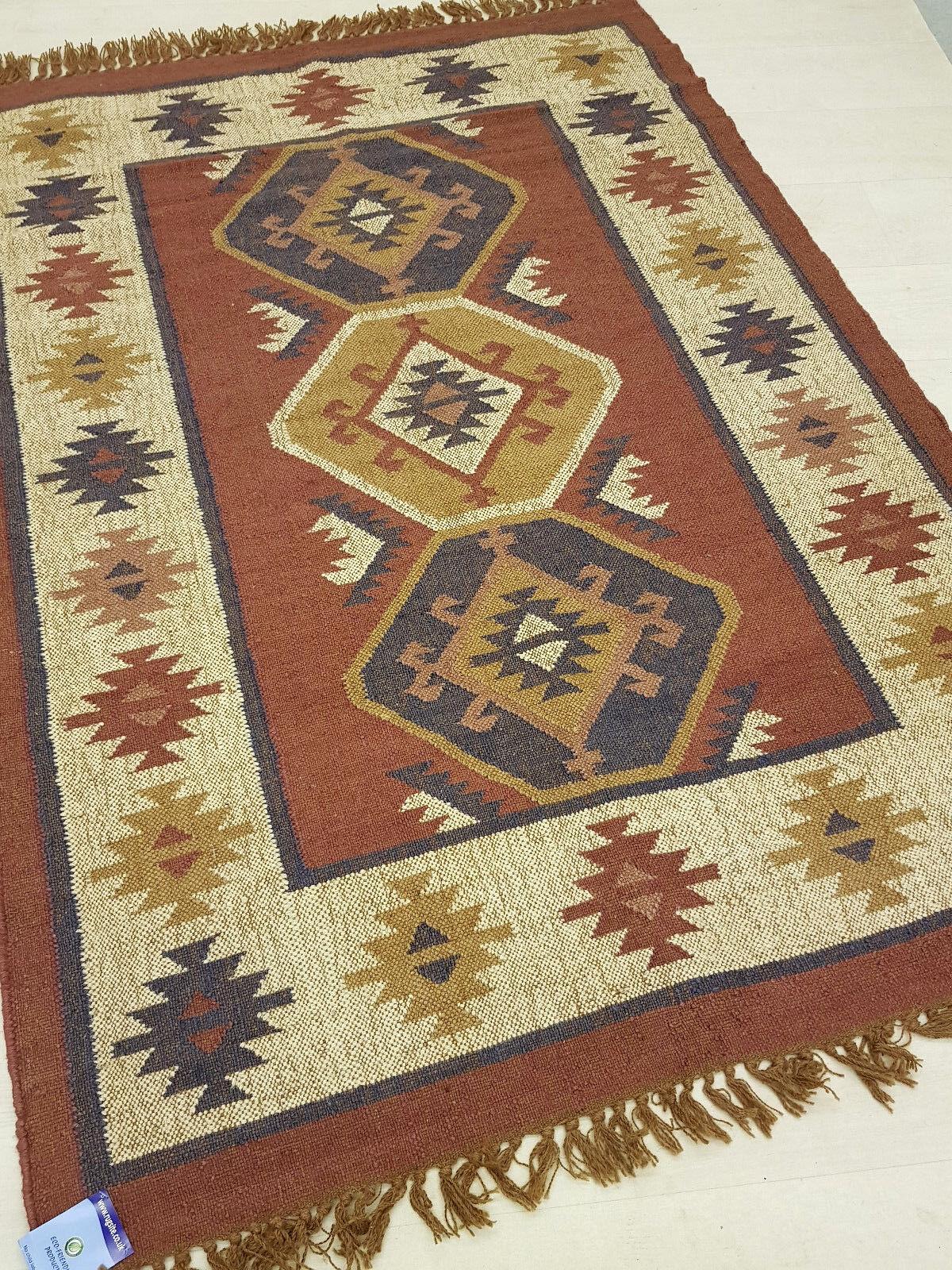 Jute Wool Kilim Rust Beige Blau 120x180cm Quality Hand Hand Hand Made Reversible rug c172b7