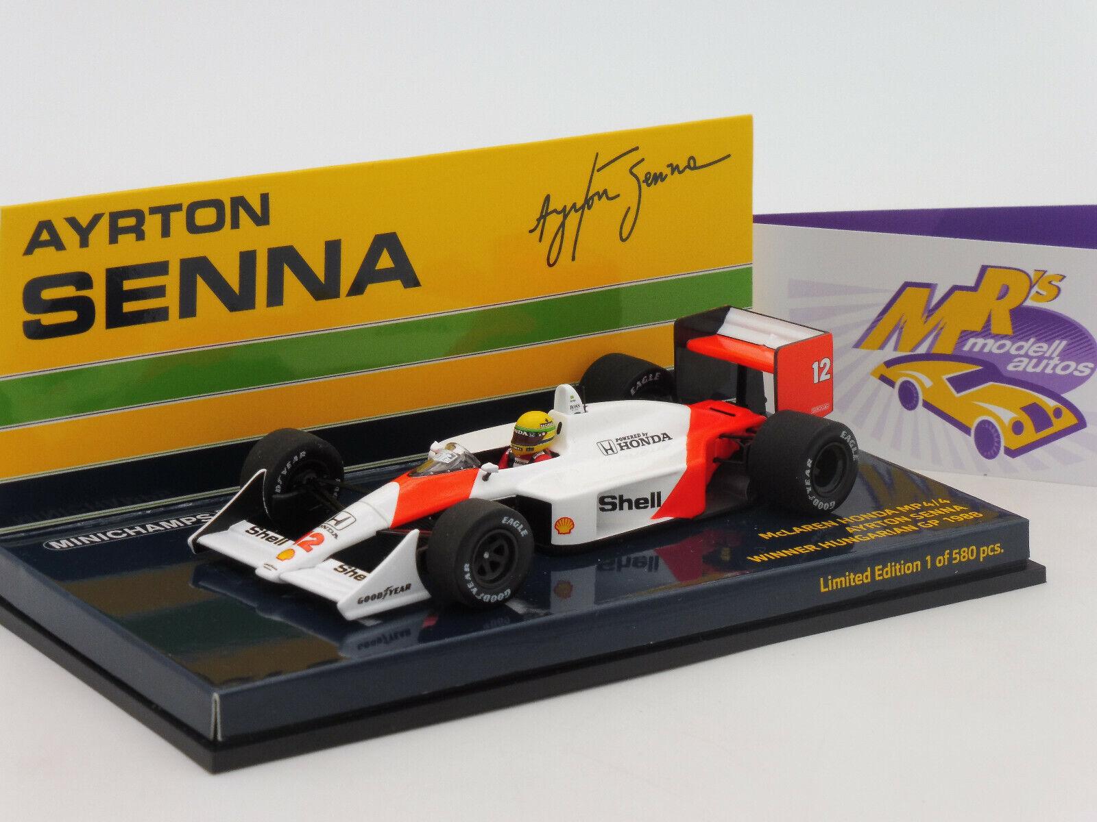 Minichamps 547884312   McLaren Honda MP4   A. A. Senna Winner Hungarian GP   1 43