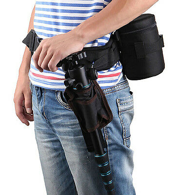 Pro Adjustable Padded Camera Waist Belt Lens Bag Holder Case Pouch Pack Strap