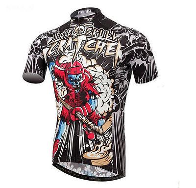 Cartoon Cycling Jersey Ice Skull Men/'s Cycing Shirts Short Sleeve Bike Jersey
