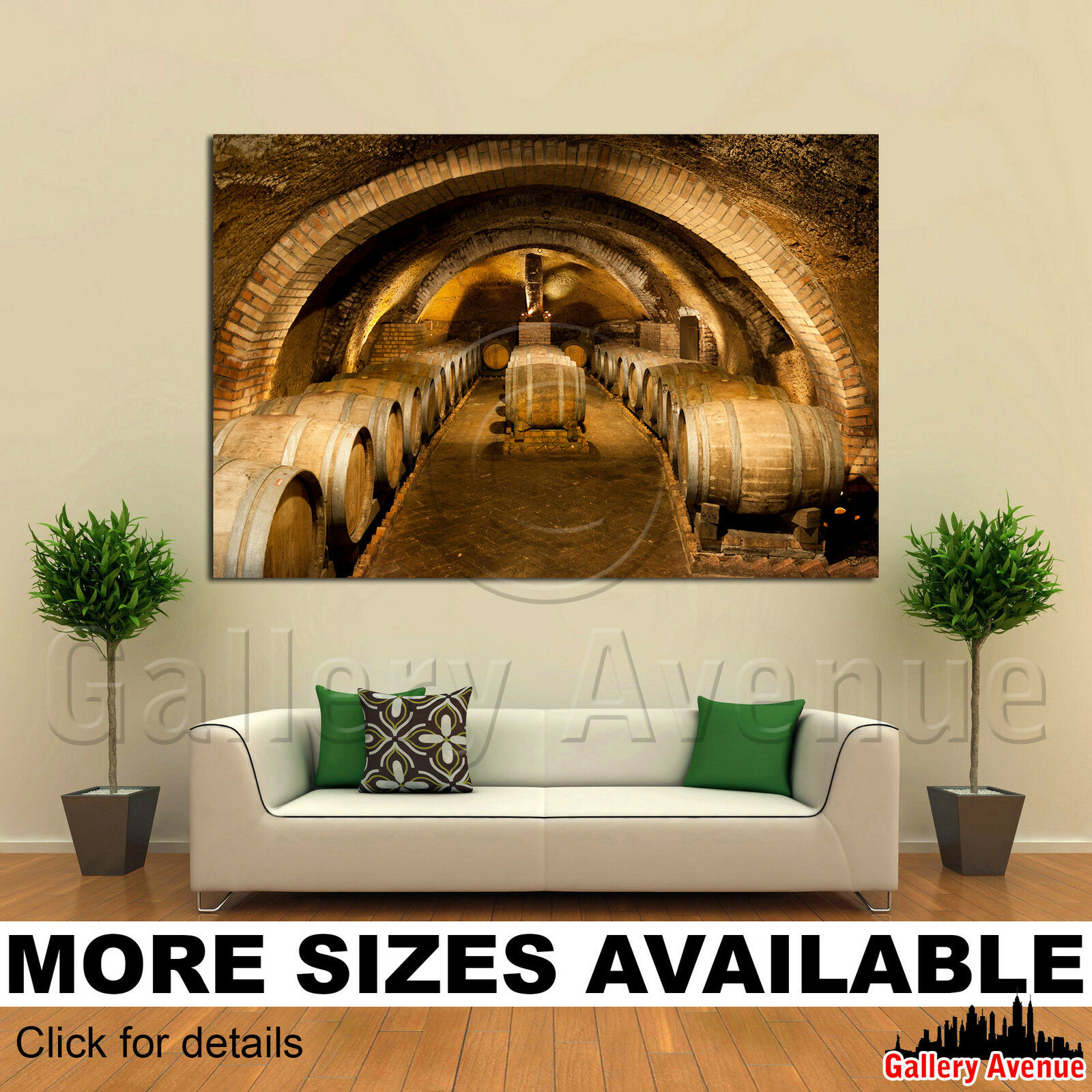 A Wall Art Canvas Picture Print - Old Wine Barrels Wine Cellar 01 3.2