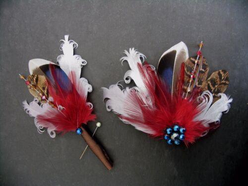 "Wedding Boutonniere Pheasant Mallard Feather /""Zoe/"" Brown Burgundy Blue Lapel Pin"
