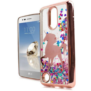 hot sale online 6d598 60c24 Details about For LG Aristo / MS210 (LV3) Rose Gold Unicorn Hearts Glitter  Liquid Skin Case