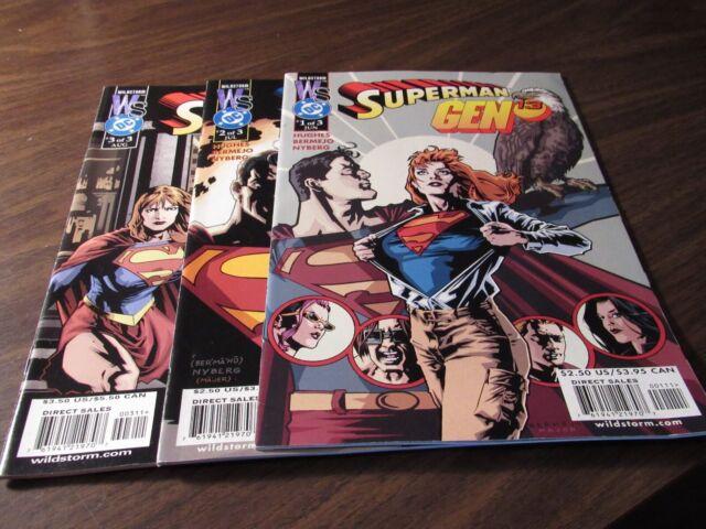 Superman Gen 13 #1 2 3 DC Wildstorm Comic Book Set 1-3 Complete Mini Series