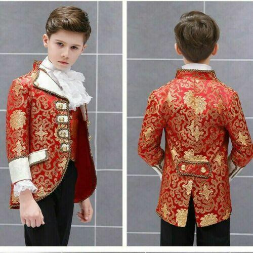Kind Jungen 3 Teile Anzug Blazer Weste Hose Mittelalterliche Prinz Kostüm