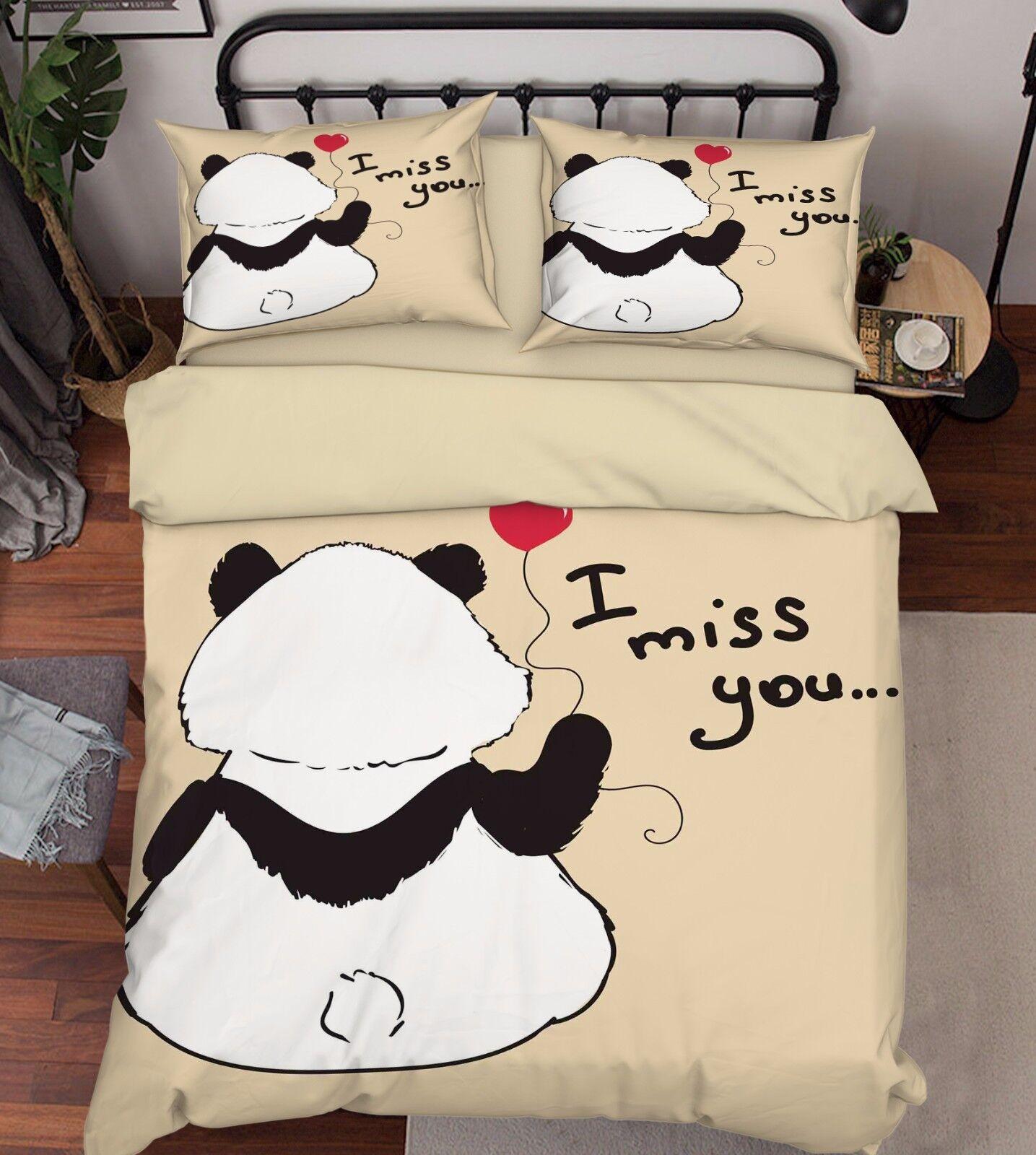 3D Missing You 2 Bed Pillowcases Quilt Duvet Cover Set Single Queen King Größe AU