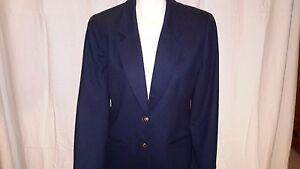 lana blu pendleton donna Cappotto vintage taglia Blazer navy 100 vergine 10 giacca tqpxfw8