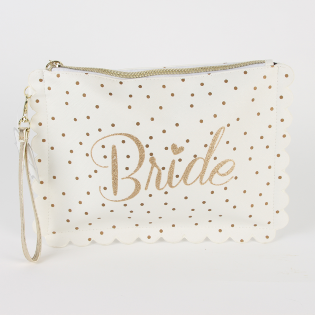 Always and Forever Multi Use Brides Gold Clutch Bag Wash Bag Wrist Strap