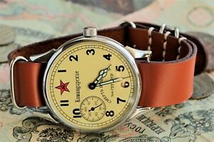 Armbanduhr-Komandirskie-sowjetischer-russischer-UdSSR-Lederriemen-in-Style-NATO-S
