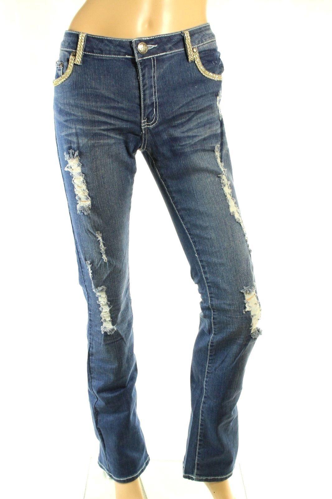 A7 Damen Denim Verziert Distressed Distressed Distressed Skinny Stretch Swarovski Kristall Jeans | Authentisch  56994c