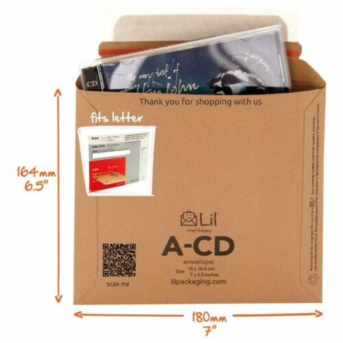 "50 x ECO FRIENDLY /""PIP/""  SIZE CD CARD MAILERS 180x165"
