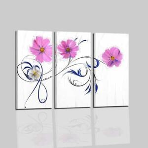 Quadri moderni astratti dipinti a mano su tela trittico for Quadri moderni fiori dipinti a mano