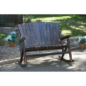 Char Log Double Rocker Porch Rocking Chair Wooden Deck