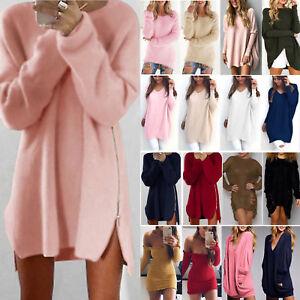 Womens-Long-Sleeve-Jumper-Tops-Knitted-Sweater-Loose-Mini-T-Shirt-Dresses-Winter