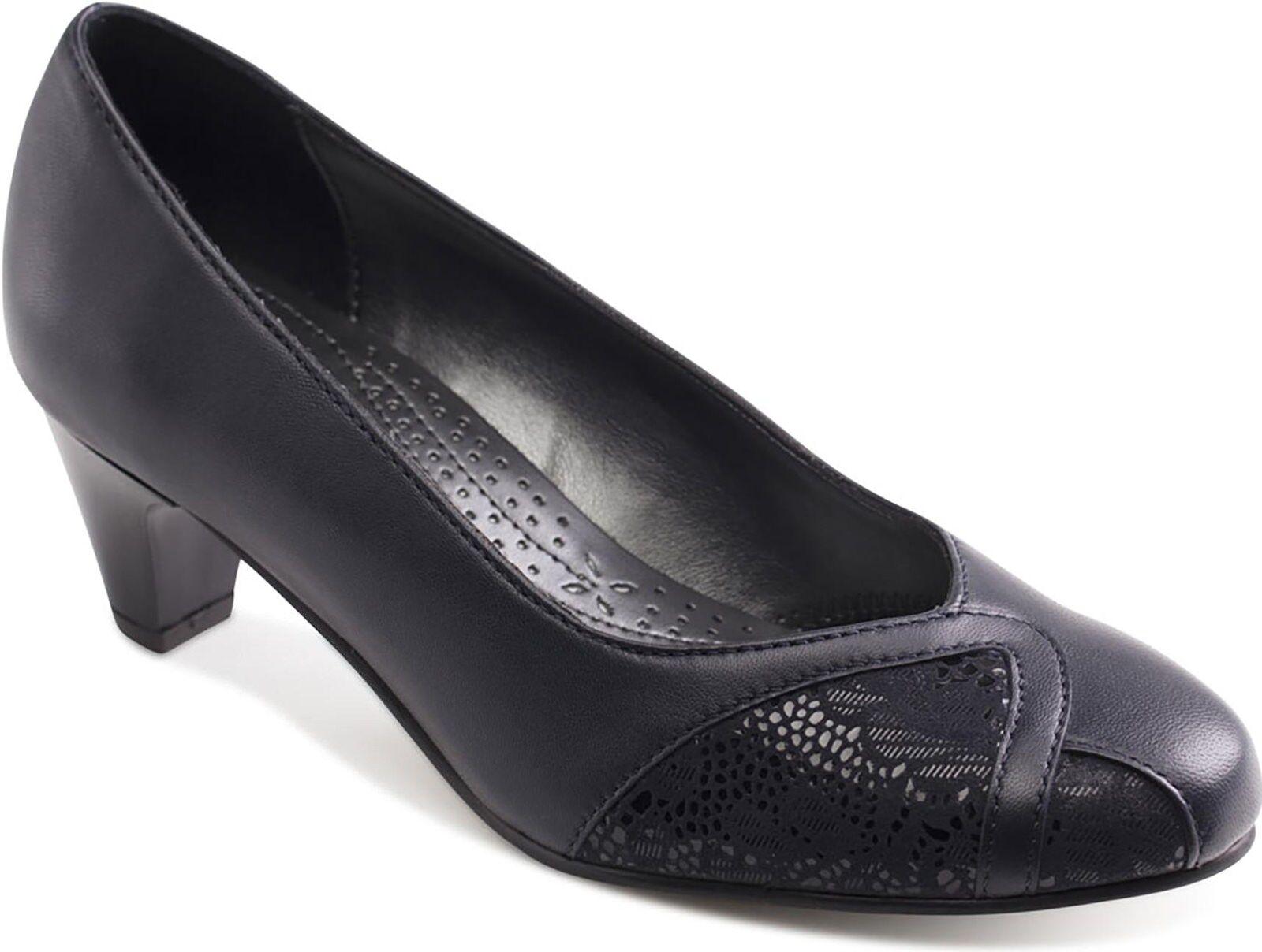 Padders Joanna Donna in pelle extra ampia vestibilità (2E) Corte Scarpe Blu Navy