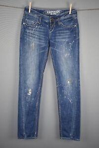 Express-Women-039-s-Zelda-Skinny-Jean-Distressed-Glitter-Paint-Splatter-Size-2