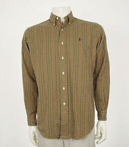 Polo-Ralph-Lauren-Classic-Fit-Brown-Plaid-Button-Shirt-Mens-Medium