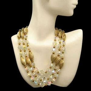 Vintage-3-Multi-Strand-Necklace-AB-Crystal-Chunky-Fluted-Gold-Plated-Beads-SLIM