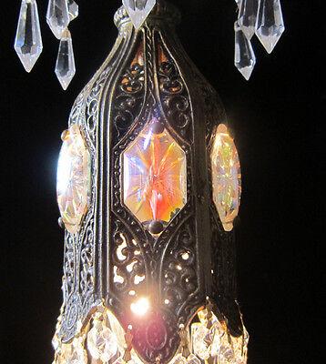 1of5 AB jeweled Tulip filigree Crystal lamp chandelier Vintage Dining room light